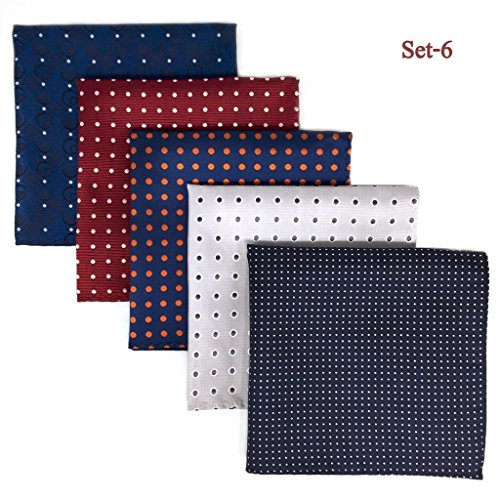 SHLAX&WING 5 Pieces Assorted Mens Silk Pocket Square Handkerchiefs Set 06 ()