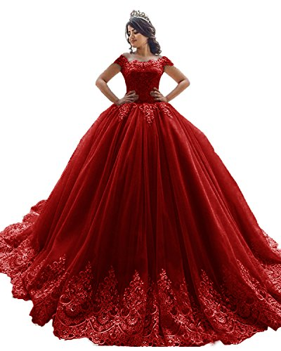 (XSWPL Elegant Off The Shoulder Ball Gowns Prom Dress for Sweet 16 Quinceanera Dress Burgundy US14)