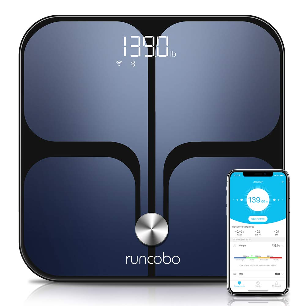 Weight Scale - Wi-Fi Bluetooth Auto - Switch Smart Scale Digital Weight, Body Fat Scale for Weight, 14 Body Composition Monitor with iOS, Android APP, Support Unlimited Users, Auto - Recognition