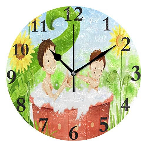 Ladninag Wall Clock Father's Day Shower Wallpaper Silent Non Ticking Decorative Round Digital Clocks for Home/Office/School Clock