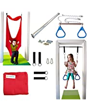 DreamGYM Doorway Therapy Swing Kit - Red Sensory Swing and Trapeze Bar with Blue Rings Combo (Red Sensory Swing)