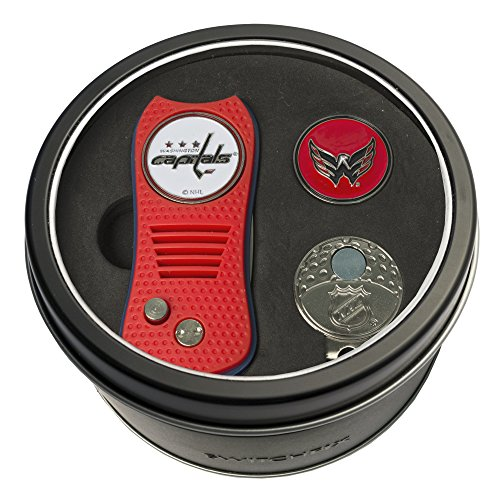 Divot Tool Golf Cap Ball (Team Golf NHL Washington Capitals Gift Set Switchfix Divot Tool, Cap Clip, & 2 Double-Sided Enamel Ball Markers, Patented Design, Less Damage to Greens, Switchblade Mechanism)