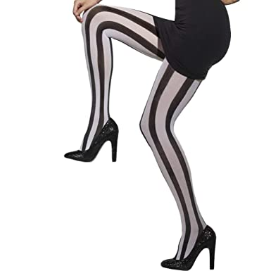 1170cf56b592f Fever Women's Opaque Vertical Striped Tights, Black and White, One  Size,5020570245491: Smiffys: Amazon.co.uk: Toys & Games