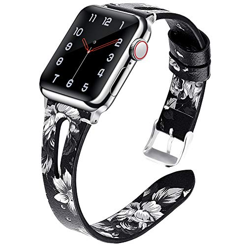 EXCHAR Leather Replacement Band Compatible with Floral Apple Watch Band 44mm 42mm Women Slim Elegant Wristband Breathable Band for iWatch Series 4/3/2/1 Grey Flower Black Strape