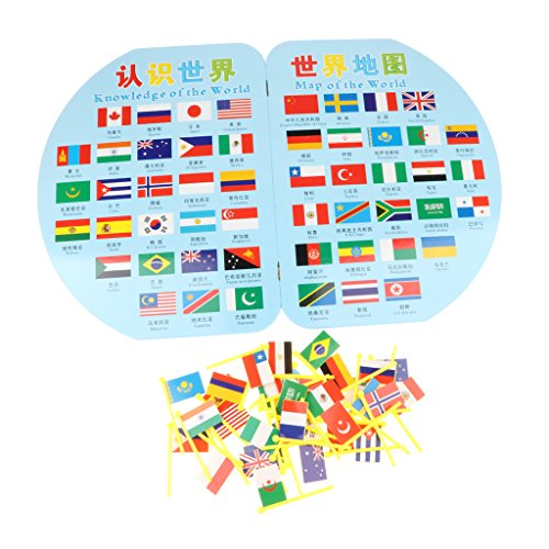 Homyl Wooden Montessori Geography Map Toy Set - World Map And 36 Flags for Kids, Birthday Gift