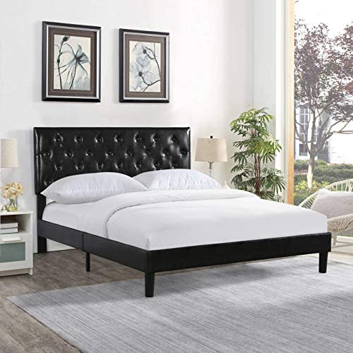 YALISI Faux Leather Classic Platform Bed Frame/Adjustable headboard