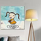 ALENIS Large size Print Canvas Pop Art Yoshitomo Nara Abstract Sleepwalking Doll Drawing Japanese Painting Picture Poster For Baby Kids Room Decor