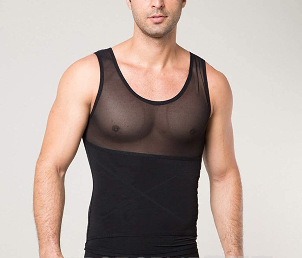 Yollmart Mens Chest Compression Shirt Slimming Body Shaper Vest Undershirt