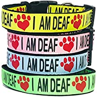 "DEAF DOG""I AM DEAF"" Dog Collar S-M-L-XL- Help Prevent Accidents by warning others your dog is Deaf"