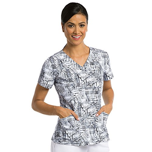 Barco One Women's V-Neck Abstract Print Scrub Top Small Print (Barco Print)