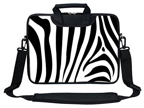 Meffort Inc Neoprene Laptop Shoulder Briefcase Bag Carry Case Handbag for 11.6 12 inch MacBook Notebook Computer - Zebra Stripes Design