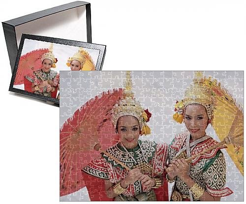 Thai Traditional Costumes Dance (Photo Jigsaw Puzzle of Portrait of two dancers in traditional Thai classical dance)
