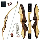 "adult starter bow and arrow set - SinoArt Recurve Bow Archery Takedown Wooden Archery Bow Compact Fast Accurate 60"" Hunting Included Rest Pad Stringer Tool Arm Guard Finger Tab String Nocks for Right Hand (35lbs)"