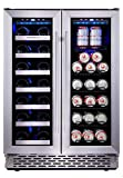 Phiestina 24 Inch Built In Dual Zone Wine and Beverage Cooler...