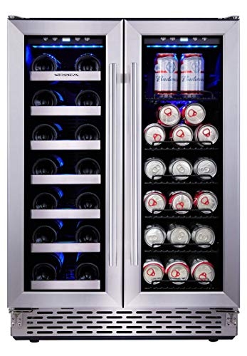 (Phiestina 24 Inch Built In Dual Zone Wine and Beverage Cooler with French Door)