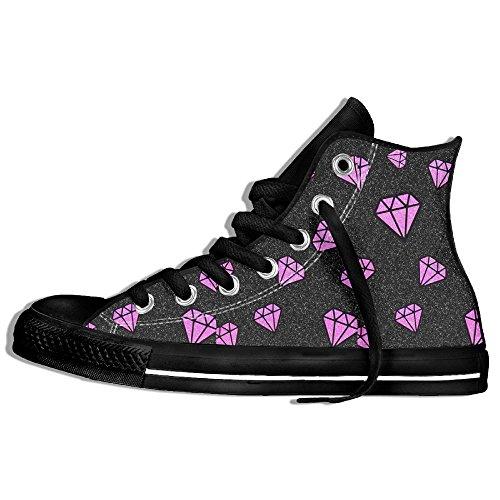 Classiche Sneakers Alte Scarpe Di Tela Anti-skid Viola Diamante Casual Da Passeggio Per Uomo Donna Nero