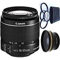 Canon 18-55mm IS STM Lens (WHITE BOX) + 4pc Macro Lenses Set (+1 +2 +4 +10) + High Definition Wide Angle Auxiliary Lens
