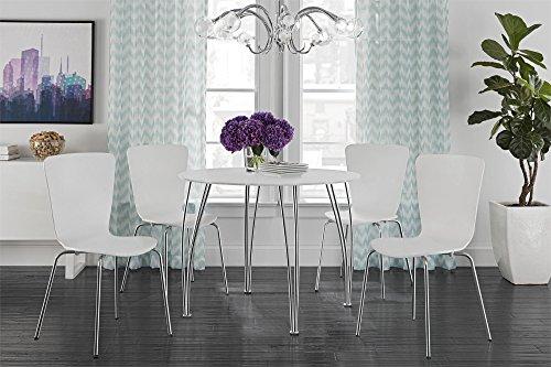 Novogratz Round Dining Table with Chrome Plated Legs, White by Novogratz (Image #5)