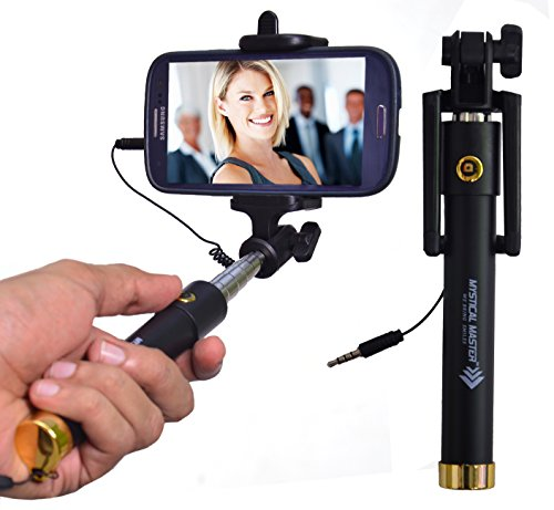 Mystical Master® Selfie Stick with Wire/Aux Cable {With New Logo} (No Bluetooth or Battery) for taking Photos & Videos on all Mobile Phones, Buy Original Premium & Best Quality, Light Weight, Best Price Gift, Long Length Extendable & Foldable Branded Monopod, Golden Selfie Stick for iPhones (iOS 5.0+) 4s, 5s, 6s, 6s Plus, Android Phones, Samsung Galaxy, Note, Edge, Gionee, Intex, Karbonn, Lenovo, Nokia, Nexus, Oppo, Vivo, Coolpad, One Plus, Moto, Sony