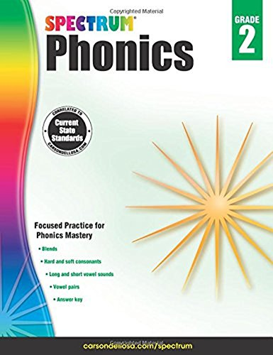 Spectrum Paperback Phonics Workbook, Grade 2, Ages 7-8
