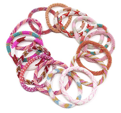 WigsPedia Handmade Crochet Glass Seed Bead Nepal Roll on Boho Yoga Bracelet – Wholesale Pink Scheme (6 Pieces Pink Nepal Bracelets)