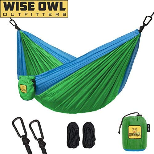 Wise Owl Outfitters Kids Hammock for Camping Owlet Kid & Gear Sling Hammocks for The Outdoors Backpacking Travel or Fun! Portable Lightweight Parachute Nylon Hammock OW Green & Blue ()