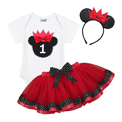 ACSUSS Infant Baby Girls Mini Mouse Costumes Polk Dots Short Sleeves Romper Tutu Dress Outfits with Headband Red 9-12 Months -