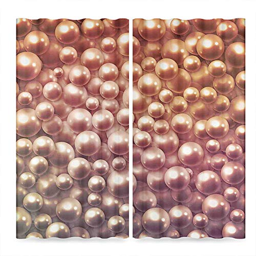 (YOLIYANA Pearls Bedroom Curtains,Various Size Mixed Rare Nacreous Pearls Gemstone Oyster Concept Golden Ombre Pattern,for Living Room, 2 Panel Set,103W X 72L)