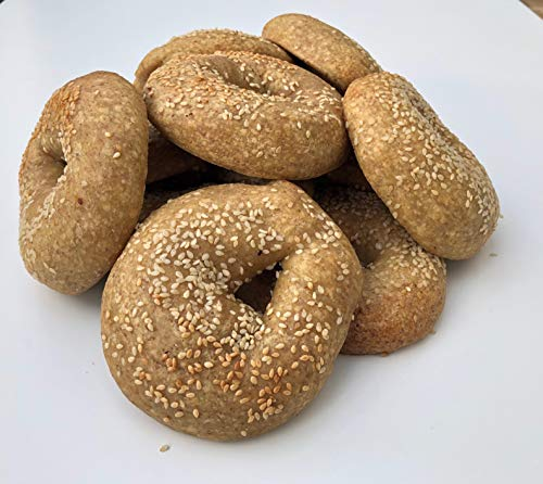 Low Carb NY Style Sesame Seed Bagels (12 Bagels) - Fresh Baked - LC Foods - All Natural - No Sugar - High Protein - Diabetic Friendly - Low Carb Bagels