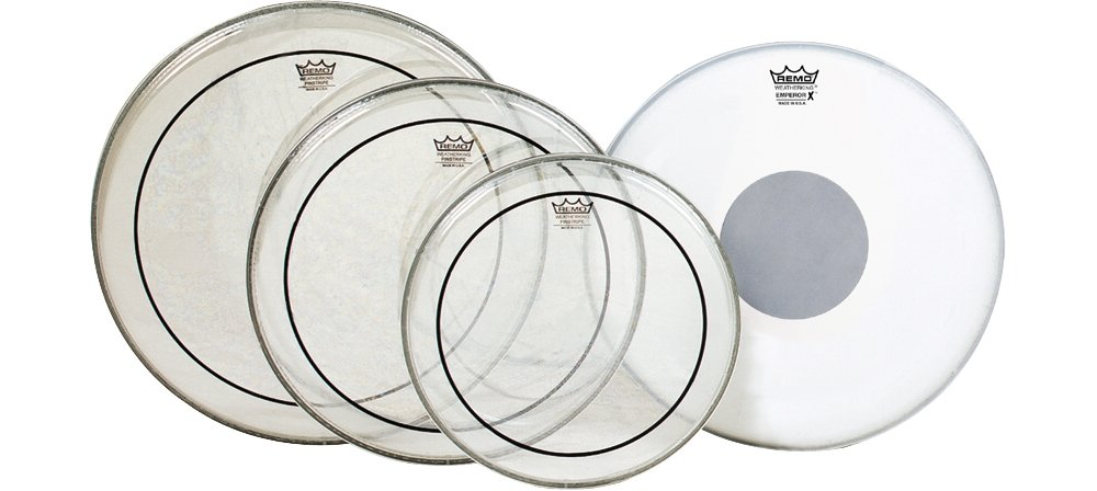 Remo Clear Pinstripe Standard Pro Pack with Free 14 in. Coated Emperor X Reverse Black Dot Snare Drum Head PP-0680-PS