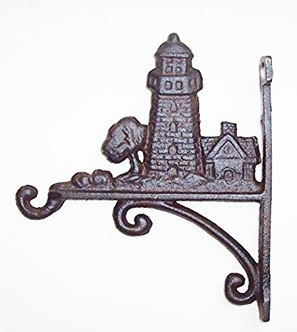 Aunt Chris' Products - Heavy Cast Iron - Lighthouse Hook - With House & Tree Accent - Dark Brown Color Rustic Finish - Primitive Design - 7