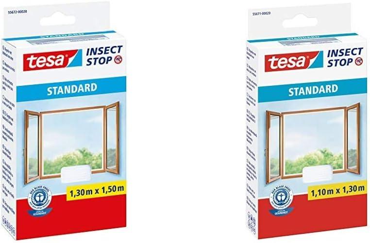 tesa Insect Stop STANDARD Fliegengitter f/ür Fenster Zuschneidbares Moskitonetz Zuschneidbares Moskitonetz 130 cm x 150 cm /& Insect Stop STANDARD Fliegengitter f/ür Fenster 110 cm x 130 cm