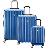 DELSEY Paris Helium Aero Hardside Expandable Luggage with Spinner Wheels, Blue Textured, 3-Piece Set (19/25/29)