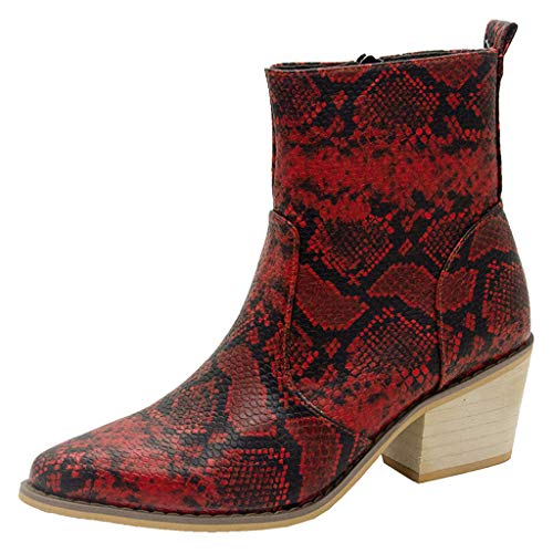 - Fashion Women's Ankle Boots Snakeskin Mid Calf Low Chunky Heel Zipper Slip on Comfty Sexy Boot (Red, Size:42/US:9.0)