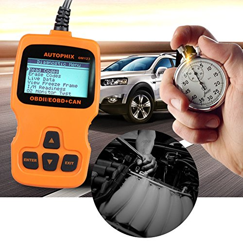OM123 Vehicle Car Fault Code Reader - PerryLee Mini Portable LCD OBDMATE OBDII OBD2 EOBD+CAN Scan Scanner Tool Car Vehicle Auto Engine Trouble Analyzer Tester Diagnostic Code Scanner Tool Orange by PerryLee (Image #2)