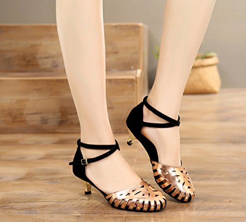 Out Leather Mid Salsa Dance Rumba Tango Closed Ballroom Heel Shoes Gold Wedding Latin Party Sandals Black 5cm MGM Heel Cut Joymod 4 Women's Toe Modern Samba faYXzzq0