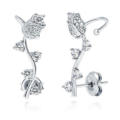 - BERRICLE Rhodium Plated Sterling Silver Cubic Zirconia CZ Flower Tulip Fashion Ear Cuffs