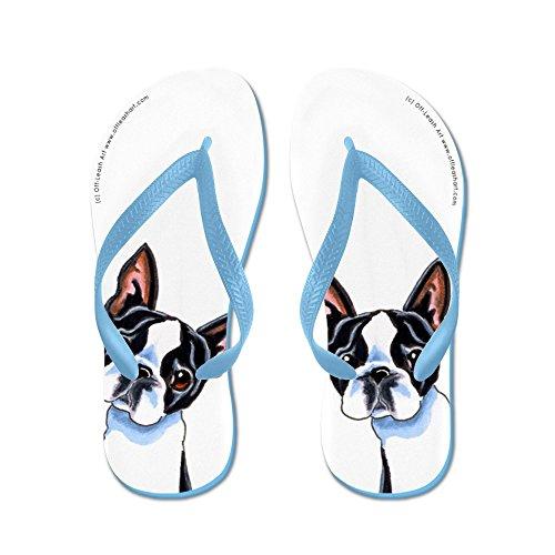 Cafepress Boston Terrier Its All About Me - Flip Flops, Roliga Rem Sandaler, Strand Sandaler Caribbean Blue