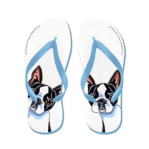 Cafepress Boston Terrier Is Alles Over Mij - Flip Flops, Grappige String Sandalen, Strand Sandalen Caribbean Blue