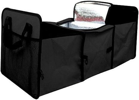 Wovelot Kofferraum Organizer Faltbar Mit Kühl Und Isolierfach Für Einkäufe Camping Picknick Schwarz Auto