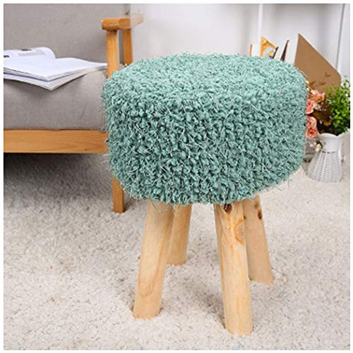 YONGYONG-hammock Four-Foot Stool Hair Change Shoe Stool Low Stool Home Round Stool Plush Stool Simple Solid Wood 303045CM (Color : 1, Size : - Bench Sauna 4'