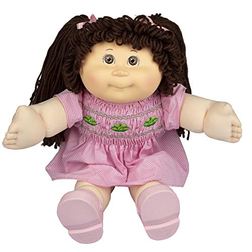 Cabbage Patch Kids Vintage Retro Style Yarn Hair Doll - Original Brunette Hair/Brown Eyes, 16