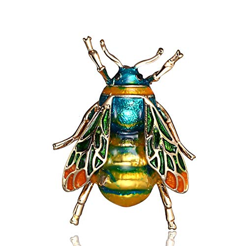 AILUOR Fashion Natural Insect Animal Enamel Brooches Bee Bumble Bee Spider Alloy Pins Vintage Jewelry for Women Girl (Green)
