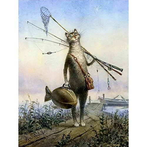 Hukai DIY Digital Oil Painting Paint by Numbers On Canvas Home Room Decoration Needlecrafts Paintworks Paint By Number (Fishing Cat)