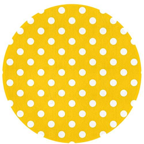 MOANDJI Polka Dot Yellow Soft Circular General Purpose Floor Mat Or Rug Use in Front of Bedroom, Kitchen, Bath Tub, Toilet