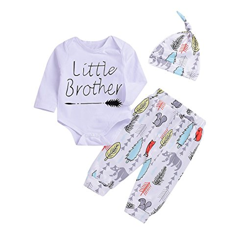 Newborn Baby Boys Cute Outfit Little Brother Arrow Romper+Animal Cartoon Long Pants+Hat 3Pcs Clothes Set (White, 0-3 Months)
