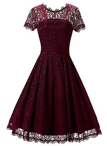 iPretty Women's Dress A-line Dresses Scroop Neck Lace Shirt Casual Party Wedding Dress Red M