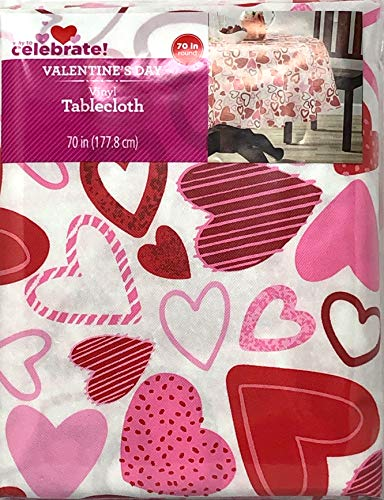 - Celebrate! Valentines Day Vinyl Tablecloth Toss Heart 70 Round