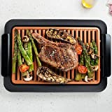 Weme - Grill Barbecue senza fumo rapido con manopola per la temperatura e griglia in Ti-Cerama