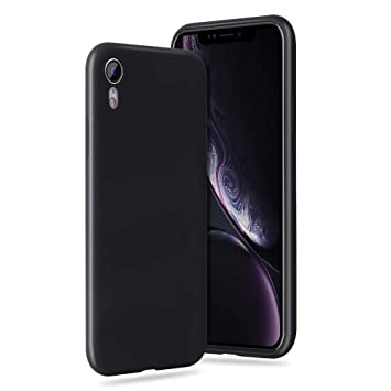 memumi Compatible con iPhone XR Funda, Silicona Líquida con Protectora Funda para iPhone XR Carcasa [Protección contra Caídas] [Anti-Arañazos] Negro